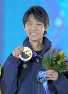 【ソチ五輪】羽生結弦「日本一幸せ」「君が代が流れて日本代表として誇らしい気持ちになった」…金メダル胸に笑顔でガッツポーズ