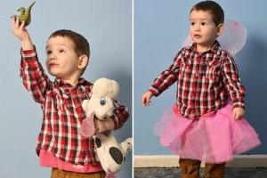 【英国】 性別への固定観念は子供に悪影響を与える…息子にドレスを着せマニキュアを塗る夫婦