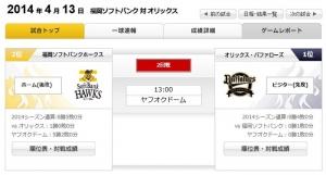 ホークス対バファローズ ウルフ-ディクソン 13:00~(ヤフオクドーム)
