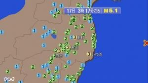 【緊急地震速報】福島県沖でマグニチュード5.1の地震が発生