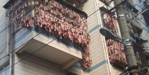 ベーコン大盛り、天日干しで。アパートのベランダからたわわに実るベーコン(中国)