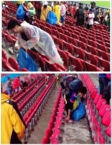 日本サポーターはゴミを拾ったけど...韓国サポーターはどうするの???